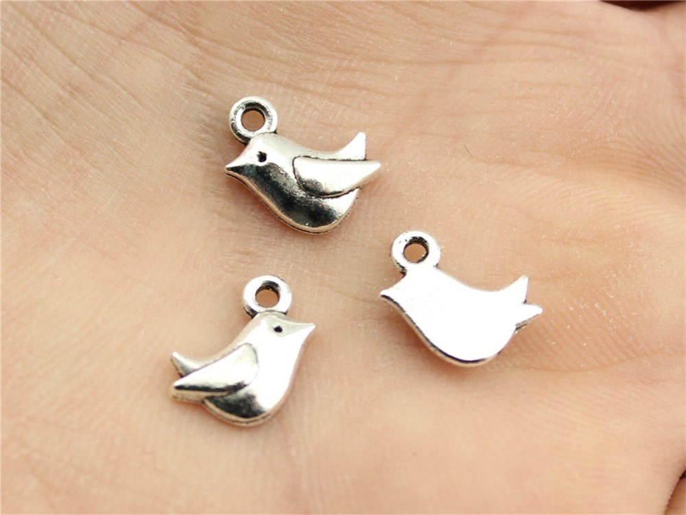 10pcs 11x8mm Tiny Bird Charm Cute Bird Charms For Jewelry Making Antique Silver Bird Charms