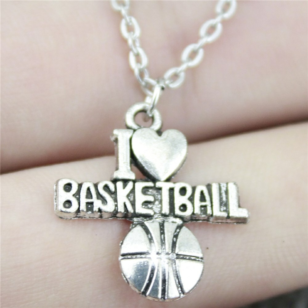 21*20mm I Heart Basketball Pendant Necklace Jewelry, Handmade Necklace Gift For Women