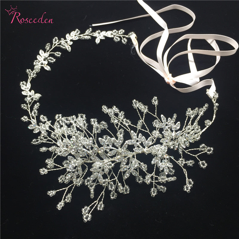 Wedding Hair Accessories handmade headpiece Charming crystal Flower Headband  Bride Tiaras Floral Hair Jewelry RE746