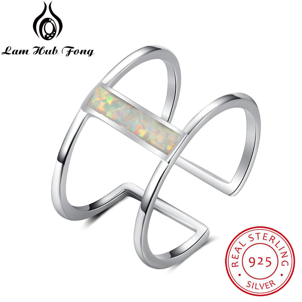 White Fire Opal Open Rings For Women Girls Hollow Out 925 Sterling Silver Wide Ring Wedding Party Jewelry( RI102939)