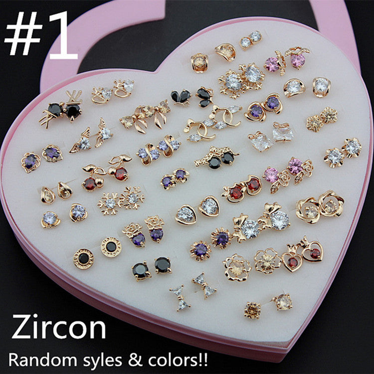 Wholesale 36 pairs/lot Girl Women's Lady Charming Rose Gold Earrings Mixed Colors Shiny Zircon Ear Stud Earrings Gift With Box