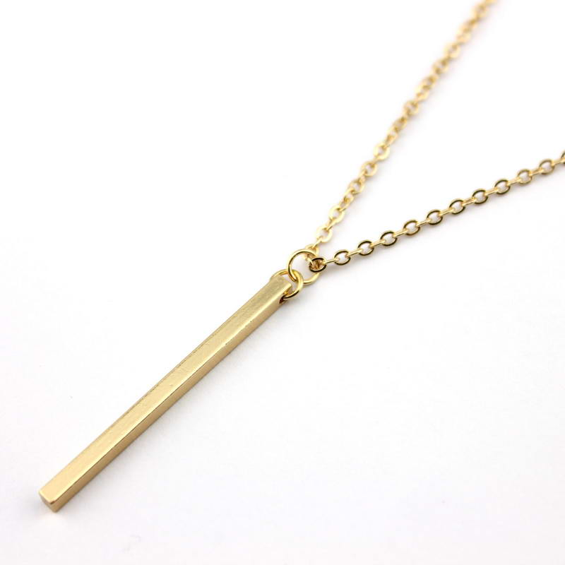 Wholesale New Fashion Gold & Silver Filled Punk Simple Vertical Bar Pendant Necklace Long