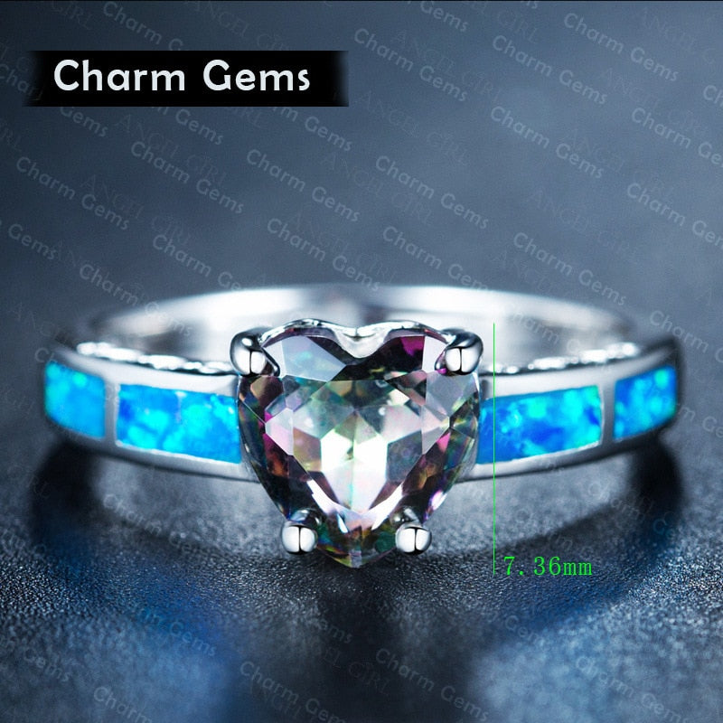 Wholesale fox Elegant Heart Cut Rainbow Opal Claddagh Ring Fashion White CZ Wedding Jewelry Engagement Promise Rings