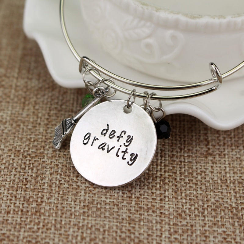 Wicked the Musical inspired bangle bracelet - defy gravity - Elphaba Glinda - Wicked charm bracelet
