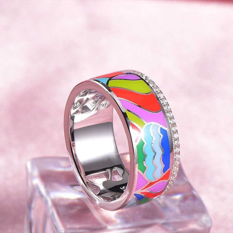 Colorfull Enamel Silver Engagement Ring For Women 925 Sterling Silver Rings Wedding Party Fine Jewelry anel feminino