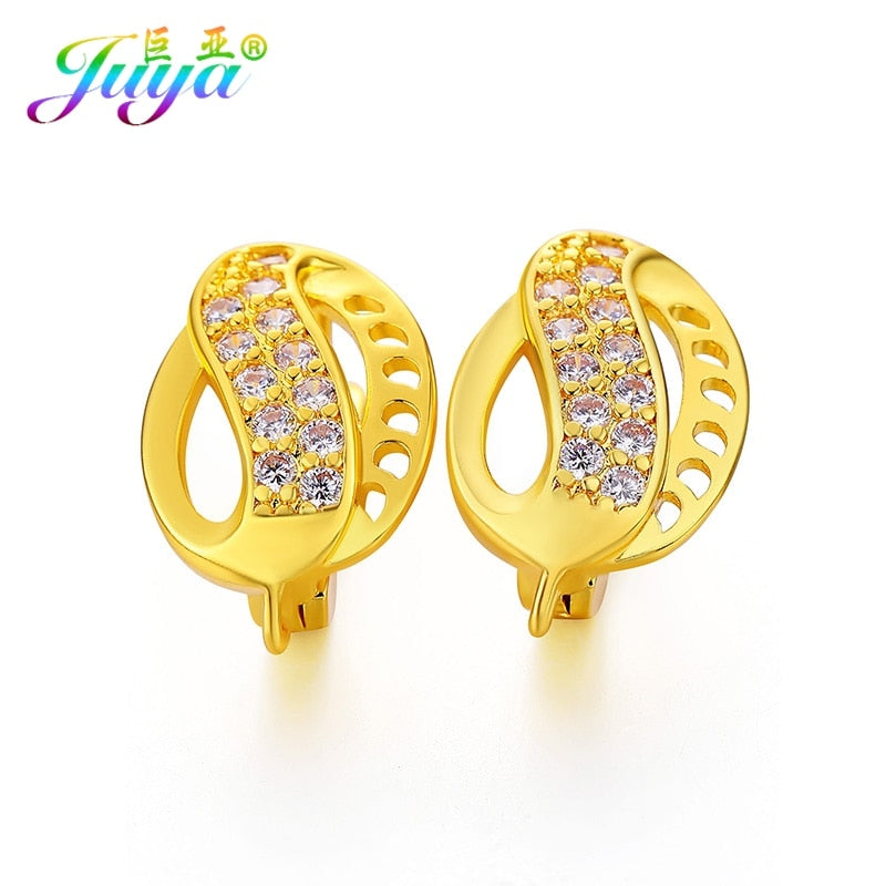 Women Party Jewelry Earrings Supplies Gold/Silver/Rose Gold Cubic Zirconia Hoop Earrings Accessories For Handmade Jewelry Making