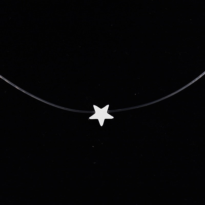 Women Transparent Fishing Line Necklaces Pendants Stars Necklace Silver Invisible Chain Choker Necklaces Collier Femme