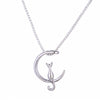 New Fashion Jewelry Silver Gold Moon Lovely Cat Necklaces Pendant For Women Gifts Simple Temperament Cute Chain N457