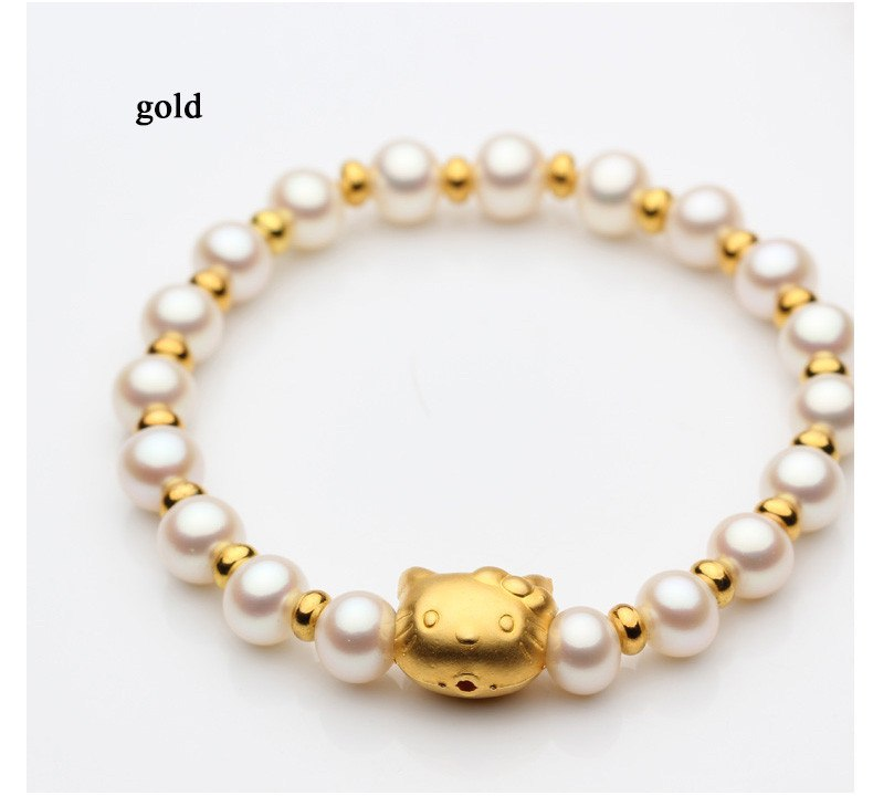 2017 Charm Bracelet Pearl Jewelry Hello Kitty Bracelet 100% Natural Pearl Bracelet For Women for girls
