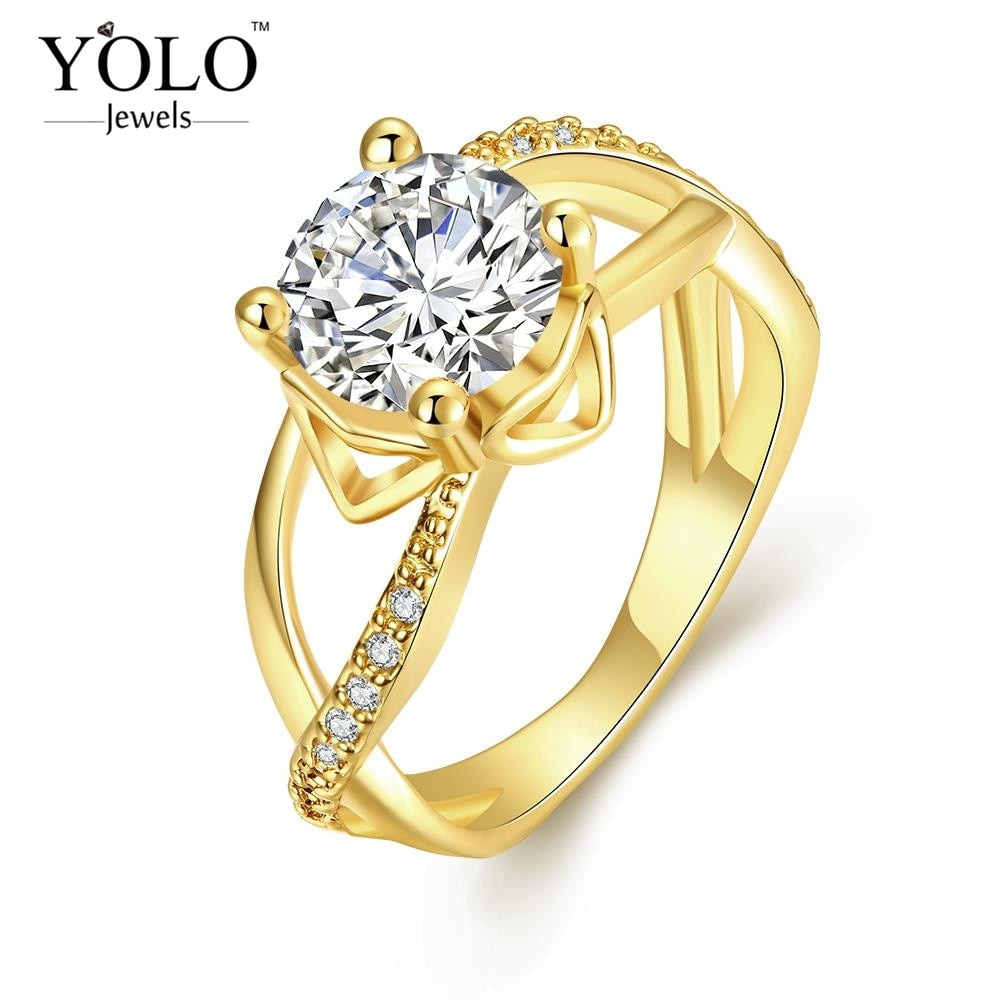 1ct Zircon VINTAGE Luxury Women Ring big zircon for Lover Gift to mother or wife also for Cocktail Party with 18KGRP