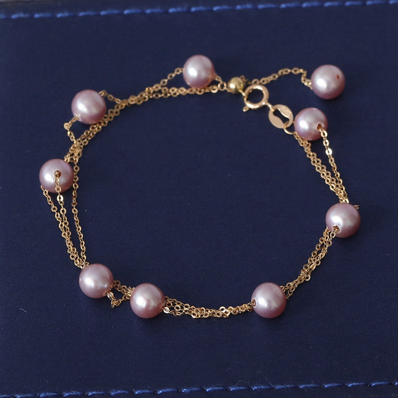 YS Triplex Row 18K Solid Gold Bracelet 5-6mm Natural Cultured Chinese Pearl Bracelet Fine Jewelry For Wedding