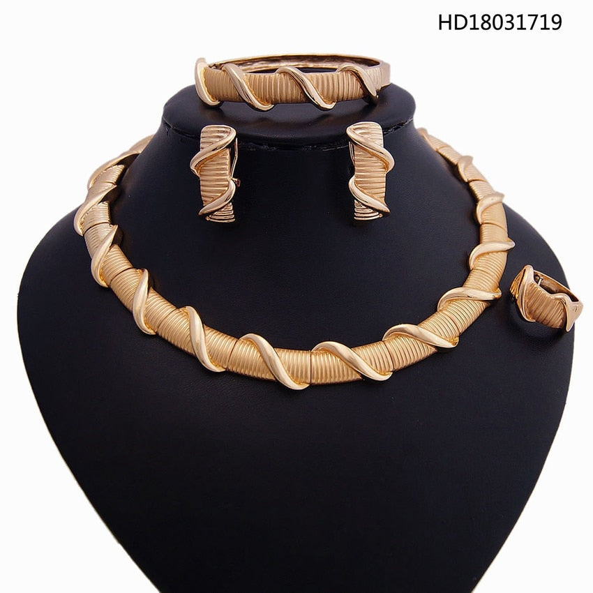 YULAILI 2018 New Coming High Quality Gold Costume Necklace Gold Color Jewelry Sets Online Shopping