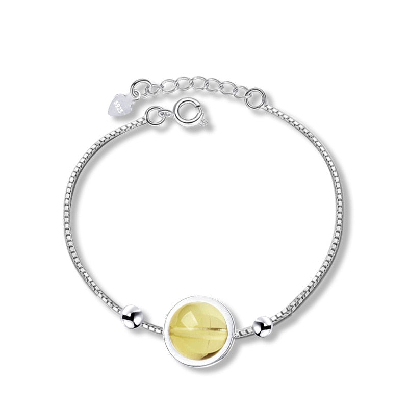 YWM Strawberry Crystal Box Chain Bracelet 925 Sterling Silver Natural Crystal Moonstone Silver Jewelry for Women Girls