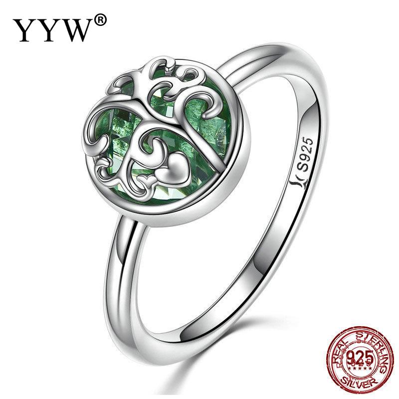 Real 925 Sterling Silver Tree of Life Finger Ring Crystal Leaf Rings For Women Sterling Silver Fine Jewelry Gift S925