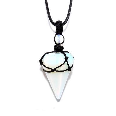 Yoga Necklace Turquoises Dowsing Pendulum Necklaces Reiki Energy Jewelry Natural Stone Pendulum Crystal Pendant
