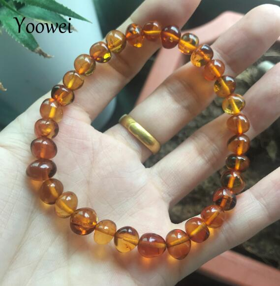 6mm--8mm 3 Colors Natural Amber Bracelet for Gift 100% Genuine Bead Original Irregular Amber Jewelry Supplier Wholesale