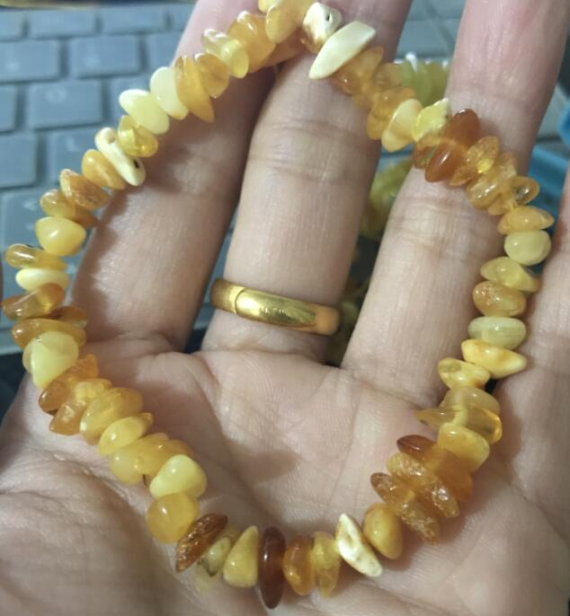 Chips Amber Bracelet Elastic Design Irregular Natural Multicolor Bead Baltic Chips Adult Bracelet Amber Jewelry Wholesale