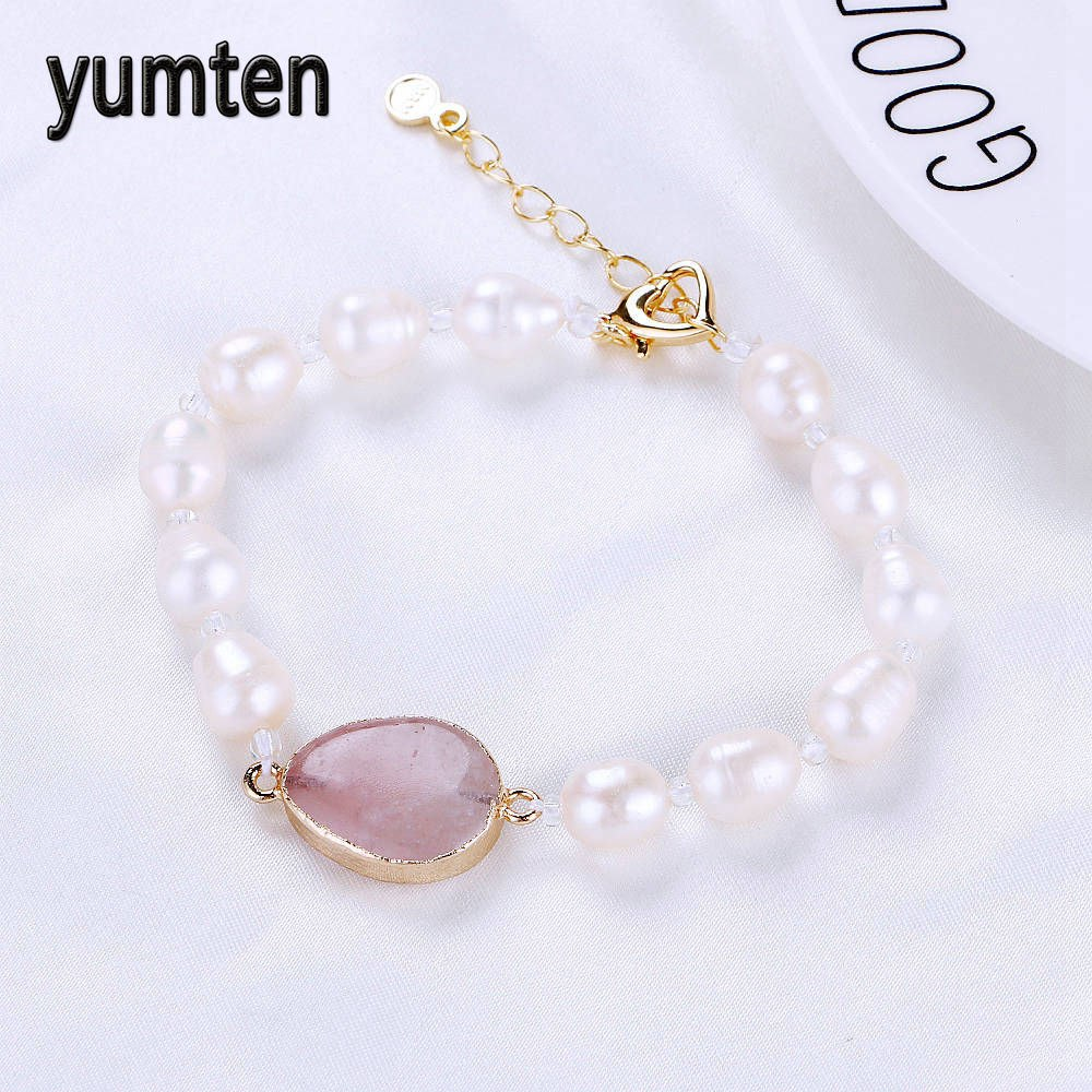 Jewelry Natural Pearls Gem Charm Bracelets Water Drop Crystal Rose Quartz Lucky Woman Elegant Pearl Jewelry