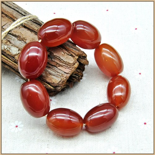 Large beads Natural Red Agate Bracelet Women Men Romantic Bracelets Barrel Bead Strand Bracelets Lucky Buddha Bracelet