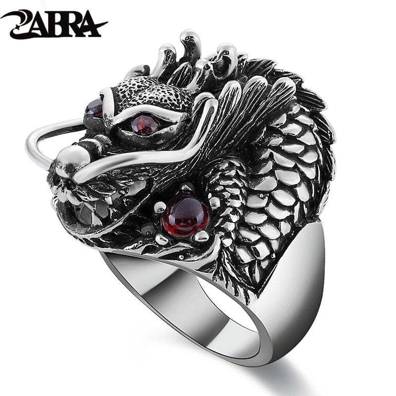 100% Solid 925 Sterling Silver Dragon Red Zircon Eye Domineering Men Ring Vintage Punk Retro Big Gothic Ring Men Jewelry