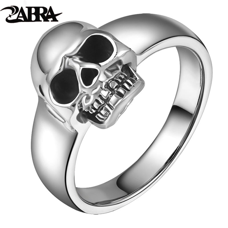 Real 925 Sterling Silver Punk Skull Ring Men Vintage Rings For Men Women Lovers Fashion Co Jewelry Anillos De Plata 925