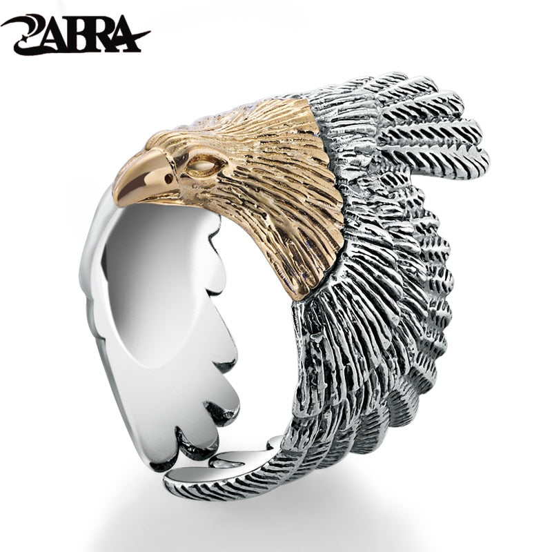 Real Solid 925 Sterling Silver Eagle Gold Color Head Ring For Women Men Vintage Steampunk Retro Co Ring Gift Men Jewelry