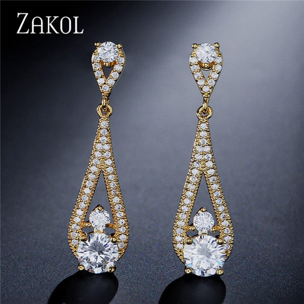 ZAKOL Brand Design Chandelier Cut Drop Earrings Clear Cubic Zirconia Bride wedding jewelry For Nepal Women FSEP2052