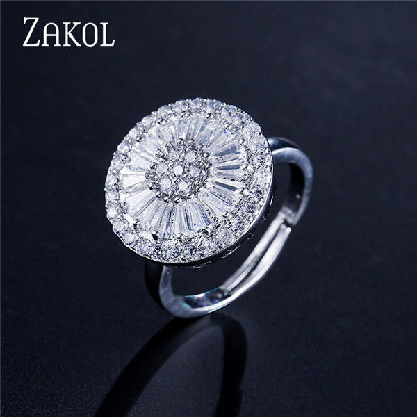 Top Quality CZ Crystal Women Fashion Jewelry Shiny Round Cubic Zircon Necklace Earrings Ring Bridal Jewelry set FSSP2013