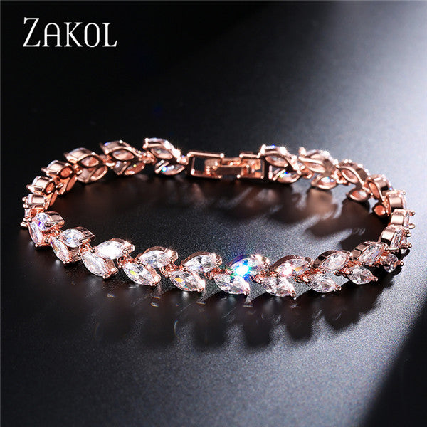 ZAKOL Trendy Bride Jewelry Sliver Color Leaf Charm Cubic Zirconia Bracelet & Bangles Clear CZ Crystal Bangles For Women FSBP061