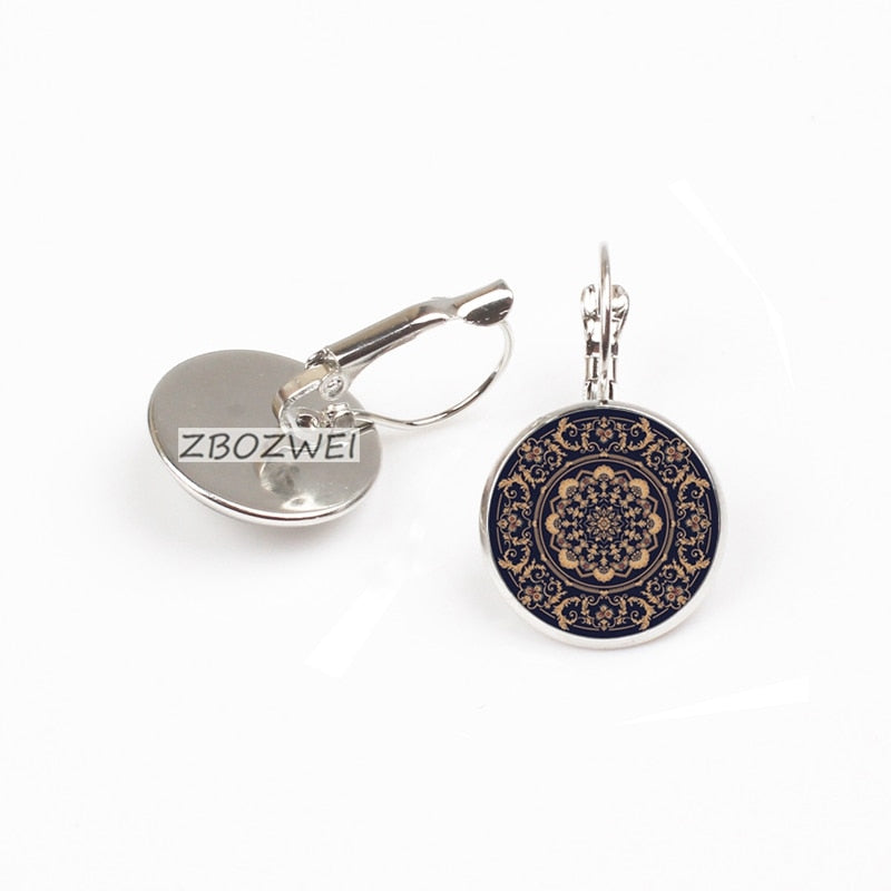 ZBOZWEI Fashion Silver Color Jewelry Mandala Charm Earrings Henna Stud Earrings OM Symbol Buddhism Zen Online Shopping India