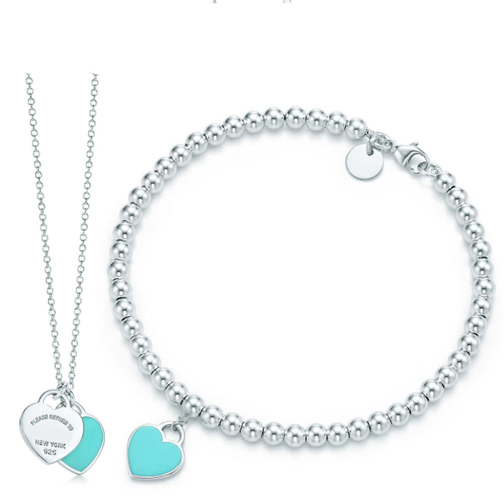 ZEG High Quality TIFF Original 1:1 Round Bead Blue love Jewelry S Has Logo Women Jewelry Free Mail
