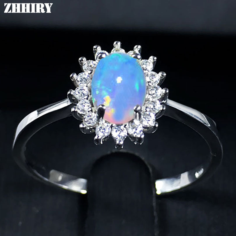 For Woman Genuine Natural Fire Opal Ring 925 Sterling Silver Rings Color Gemstone Fine Jewelry
