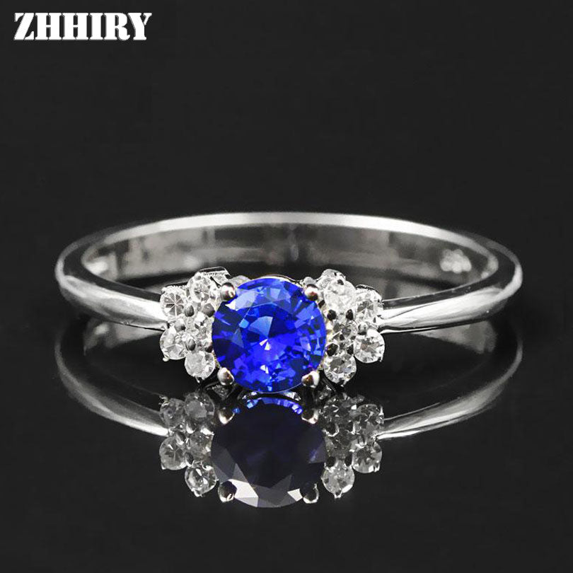 Women Genuine 18K White Gold Natural Blue Sapphire Ring Lady Gemstone Rings Lettering With Certificate Fine Jewelry