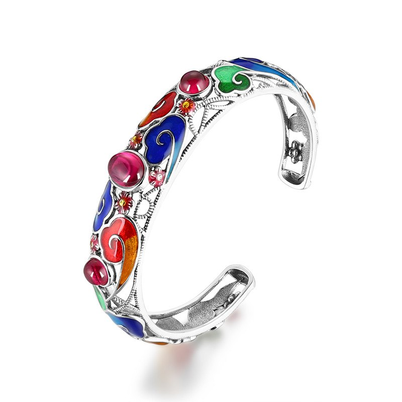 Hollow 925 Silver Ruby Bracelets Cuff Bangles for Women Ethnic Style Chinese Cloisonne Sterling Silver Jewelry