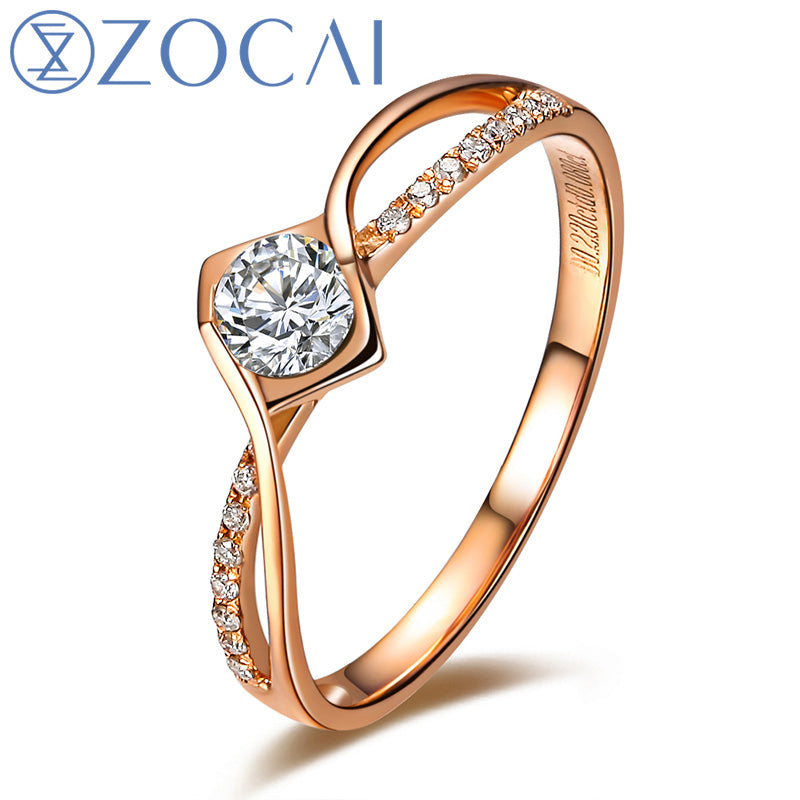 BRAND LOVE NATURAL REAL 0.20 CT CERTIFIED I-J / SI DIAMOND ENGAGEMENT RING ROUND CUT 18K ROSE GOLD JEWELRY W00182
