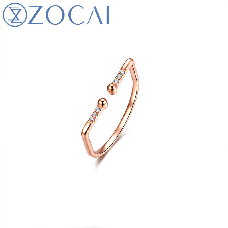 New Arrived Fashion Ring 18k Rose Gold 0.03CT Party Ring Free Shipping W06454