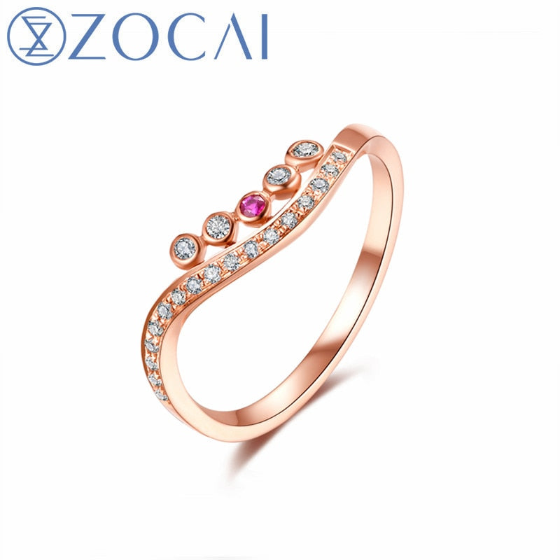 New Arrived Fashion Ring line shape 18k rose gold(AU750) party ring 0.17ct diamond ring W80045T-1