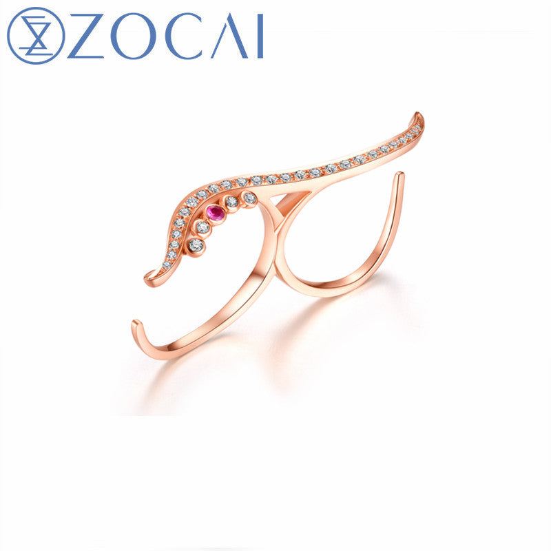 New Design Fashion Ring line shape 18k rose gold(AU750) party ring 0.17ct diamond gift ring W80045T