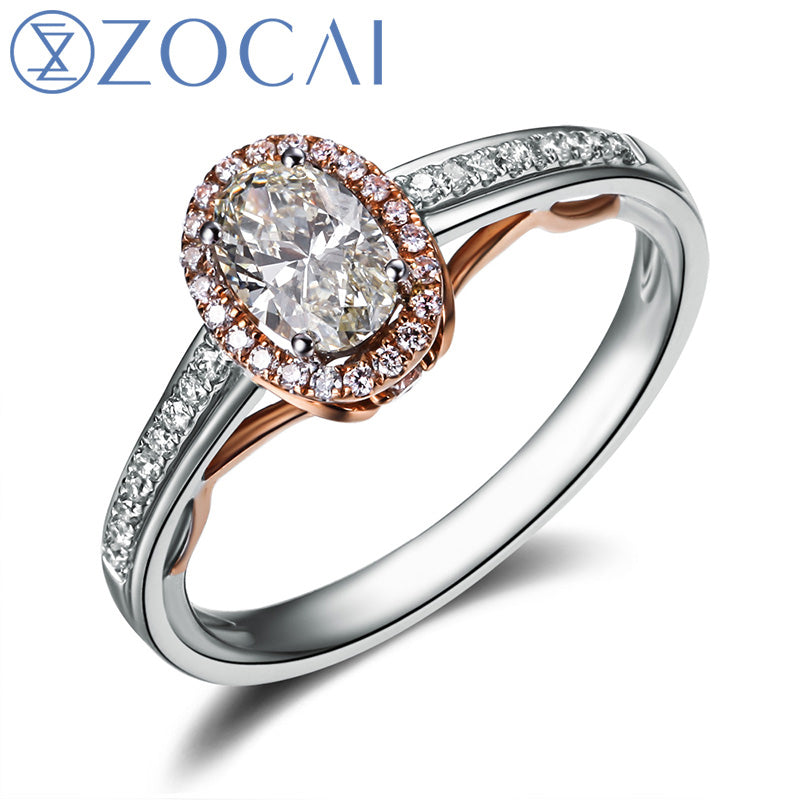VINTAGE SIDESTONE 0.7 CT NATURAL D-E / SI OVAL CUT HALO MICROPAVE 18K WHITE GOLD & ROSE GOLD DIAMOND RING W04427