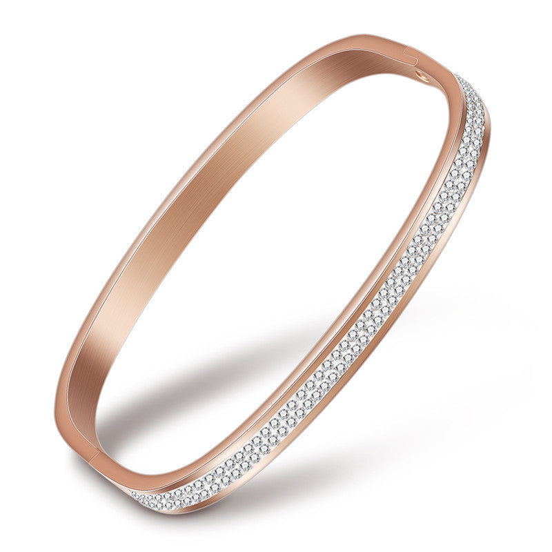 New Rose Gold/Gold/Silver Bracelets & Bangles Stainless Steel 2 Row Sparkling Cubic zirconia Open Bracelet For Women