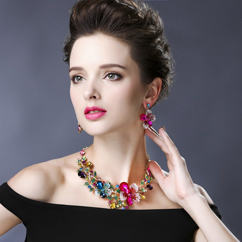 High Quality Romantic Women Wedding Party Fashion Bridal Jewelry Sets Statement Necklace And Earring Trendy Accessories