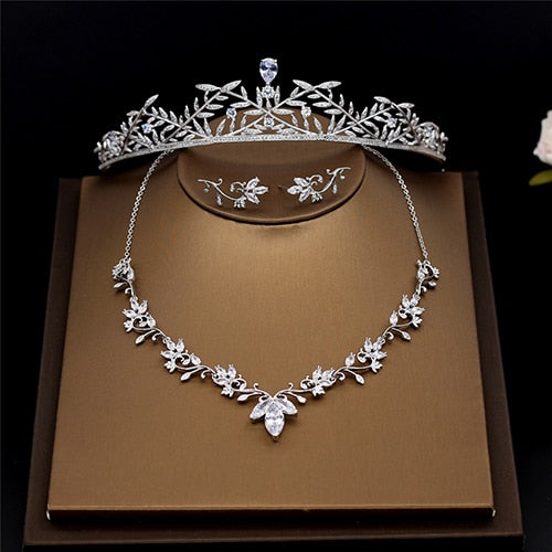 amupp New Cubic Zirconia Brides Tiara Necklace and Earrings Wedding Jewelry Sets CZ Micro Paved Bridal Zircon Jewellery Bijoux