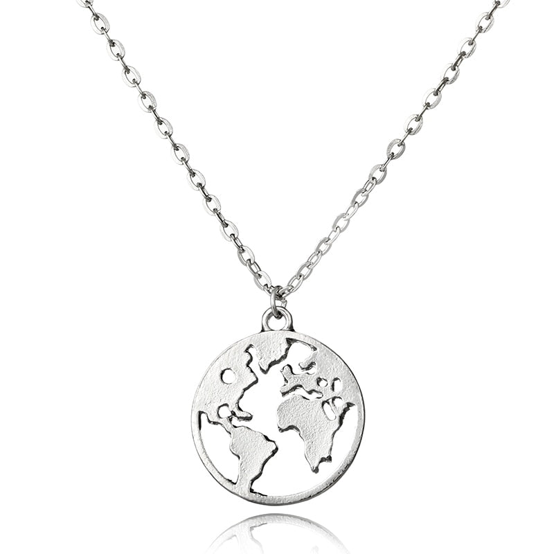 World Map Pendant Necklace for Women Silver Gold Metal Dainty Globe Earth Layered Necklace Globetrotter Collares 6179