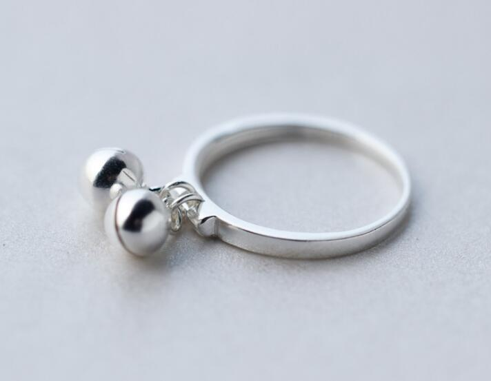 fashion 1PC REAL.925 Sterling Silver fINE jEWELRY Jinjle Bell Chime Sounds round Ring Knuckle GTLJ1376