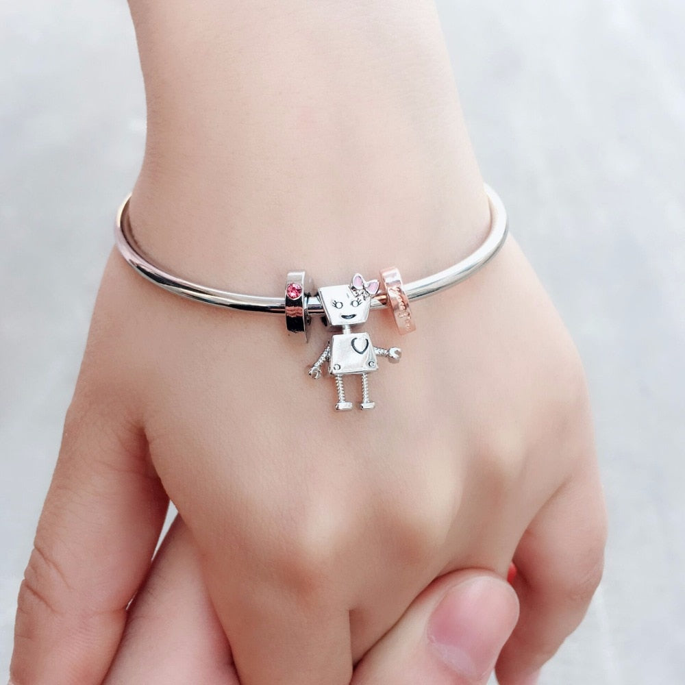free shipping 1pc silver Bella Bot and his friend bangles fit Fit Bracelets for Women Glass Beads Love Heart Charms Gift
