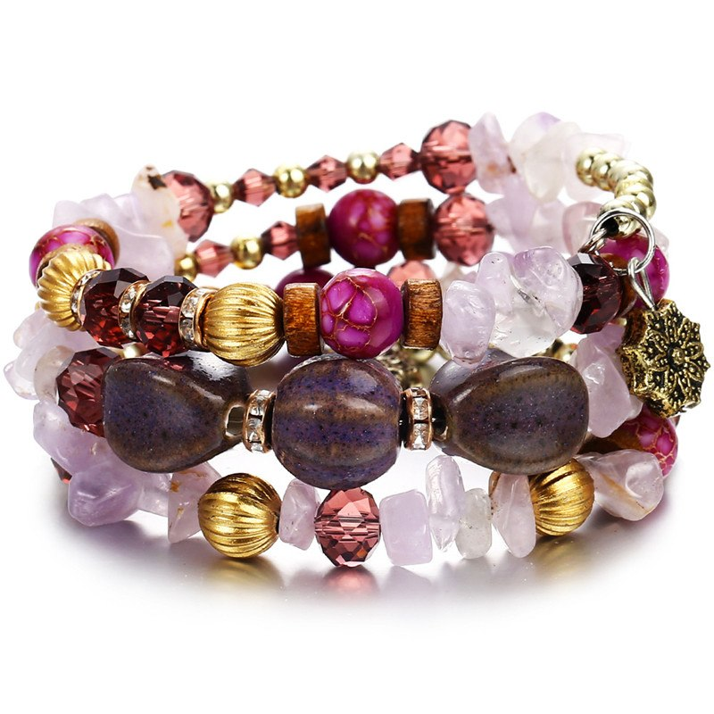 Bohemian Beads Crystal Charms Bracelets For Women Ethnic Tibet Nature Stone Bracelets Bangles Men Wedding Gifts