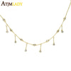 high quality 100% 925 sterling silver Gold color BEZEL cz charm choker tassel chain elegant wedding gift women chocker necklace