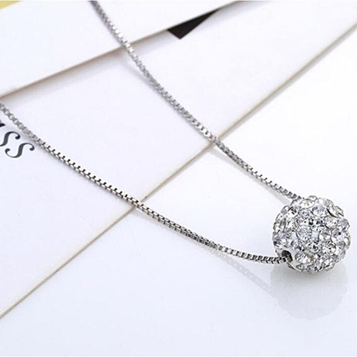 hot sell simple design one Shambhala ball 925 sterling silver ladies short chain necklaces anti-allergic drop shipping