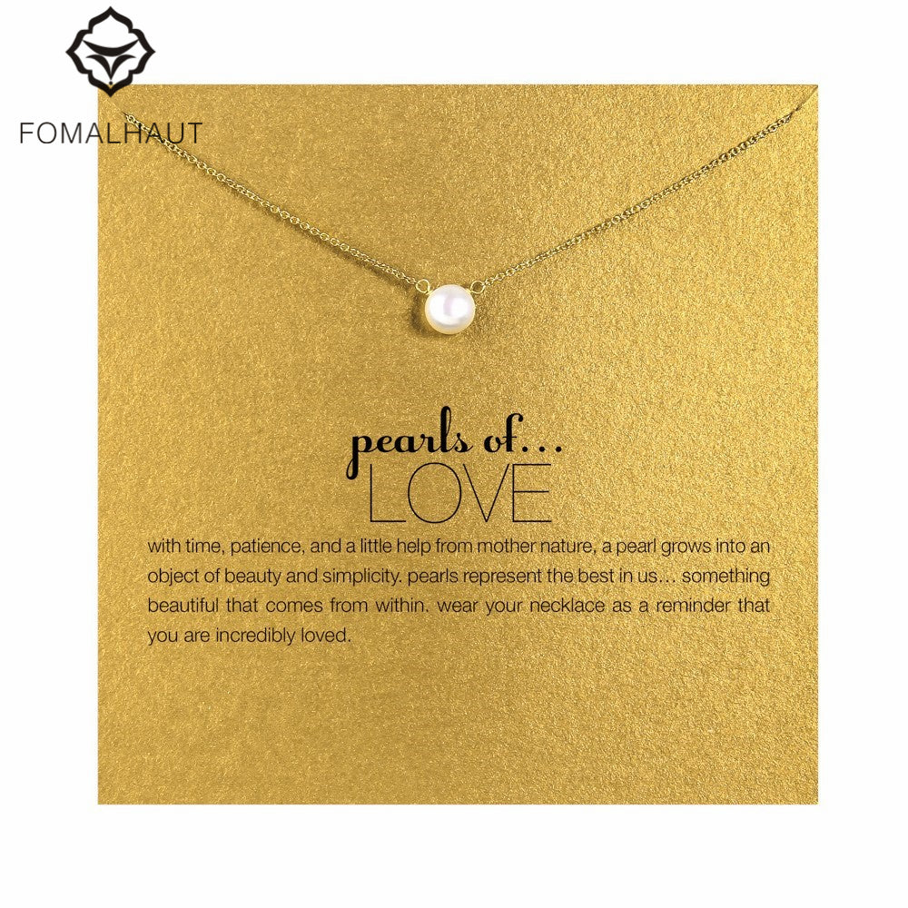 imitation pearl of love Pendant Necklaces Clavicle Chains necklace Fashion Chain Necklace Women Jewelry