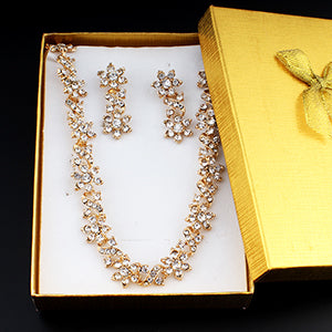 jiayijiaduo Dubai Gold Color Necklace Earrings Set for Women's Wedding Jewelry Set Crystal Jewelry Accessories dropshipping 2018